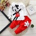 Primavera Outono Roupas Dos Desenhos Animados Do Bebê Se Adapte Às Meninas Meninos Minnie Mouse a Roupa Do Bebê Crianças Conjuntos Jaqueta + calça de Algodão 2 pçs/sets