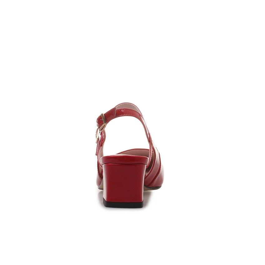 Pumpen Leder Platz Frauen Esveva Karree Heels rot Größe Slingback Kuh Nude Color 2019 Patent 39 34 Schuhe Sandalen Schnalle High schwarzes zE8q5Fx8