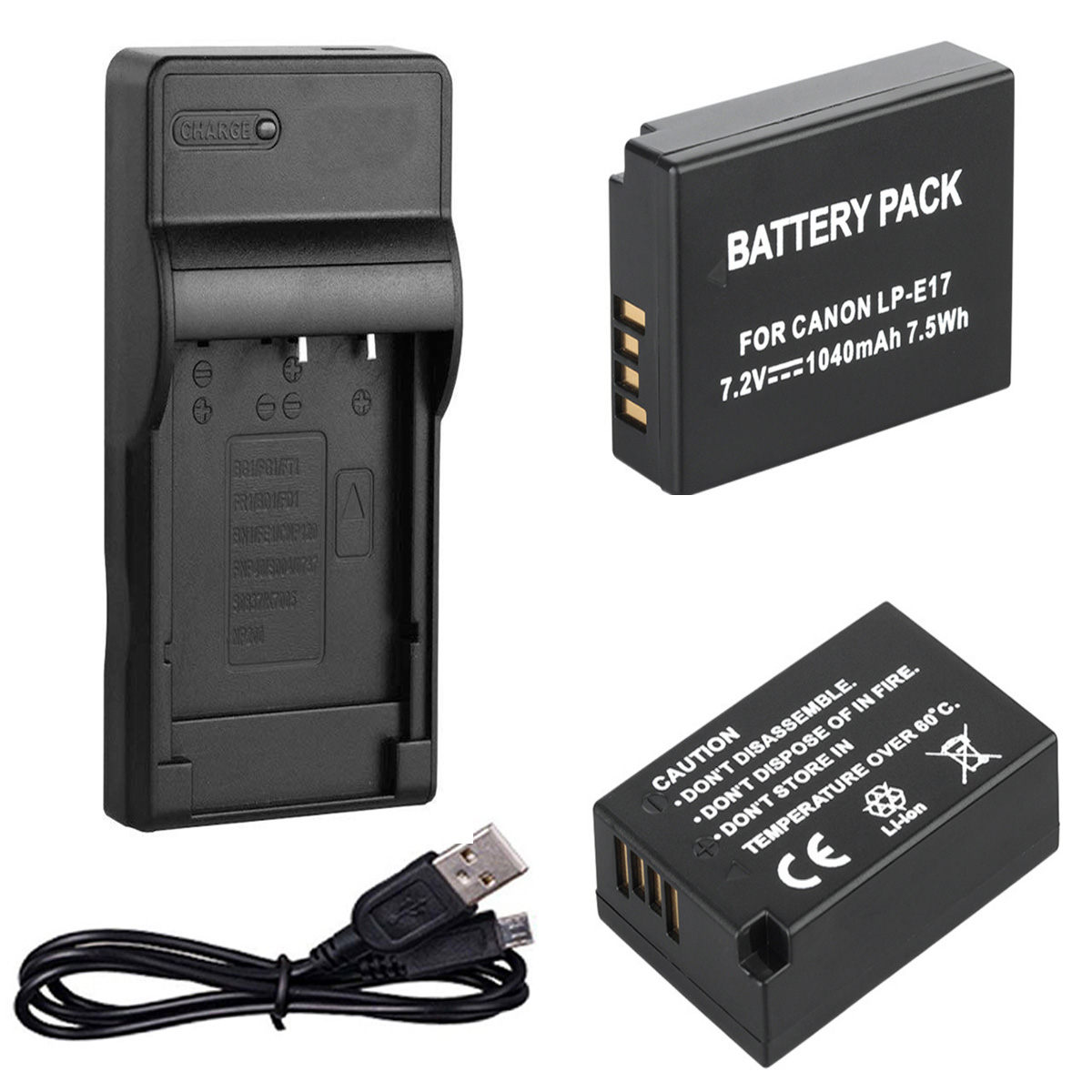 Battery (2) + USB Charger For Canon EOS 77D,200D, 750D, 760D, 800D, 8000D,9000D, EOS Rebel SL2, T6s, T6i, T7i Digital SLR Camera