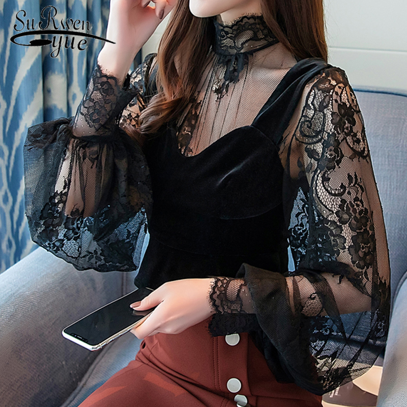 blusas mujer de moda 2018 autumn winter new perspective lace bottom top velvet vest women   blouse     shirt   sexy black top 1450 45