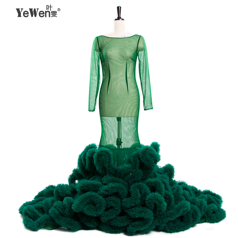 YeWen Real Photo Sexy See Through Scoop Long Sleeves Tulle Green Wedding Dress Mermaid Wedding Dresses Vestido De Novia 2019