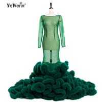 Romantic Sexy See Through Scoop Long Sleeves Silk Tulle Green Wedding Dress Mermaid Wedding Dresses Vestido