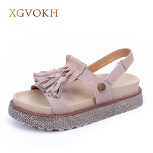 Xgvokh Брендовая женская обувь Кожа бахрома на платформе удобные Обувь на высоком каблуке Женская обувь летние сандалии