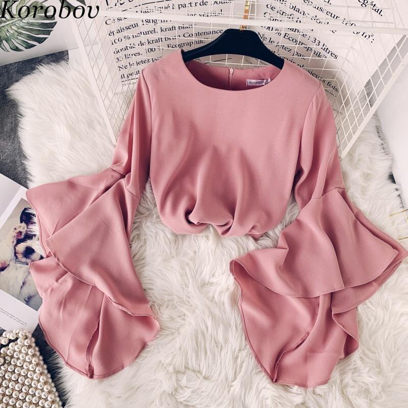 Женская блузка с рукавом-бабочкой Korobov, Корейская облегающая блузка с o-образным вырезом, 76608