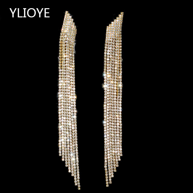High quality tassel imported luxury crystal Long Gold Drop Earrings Fashion Jewelry For Women Wedding party Jewelry Best Gift