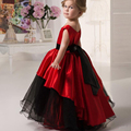 Nova flor vermelha vestidos menina vestidos de baile de casamento festa de aniversário borda do laço da menina vestidos infantis da criança