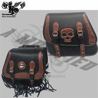 Motorcycle PU Leather Saddle Bags Side Tool Bag Panniers Luggage SaddleBags Universal For Harley BMW Motocross Bags