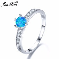 JUNXIN Six Claws Stacking Round Blue White Fire Opal Rings For Women 925 Sterling Silver Filled Wedding Thin Ring Female Wedding