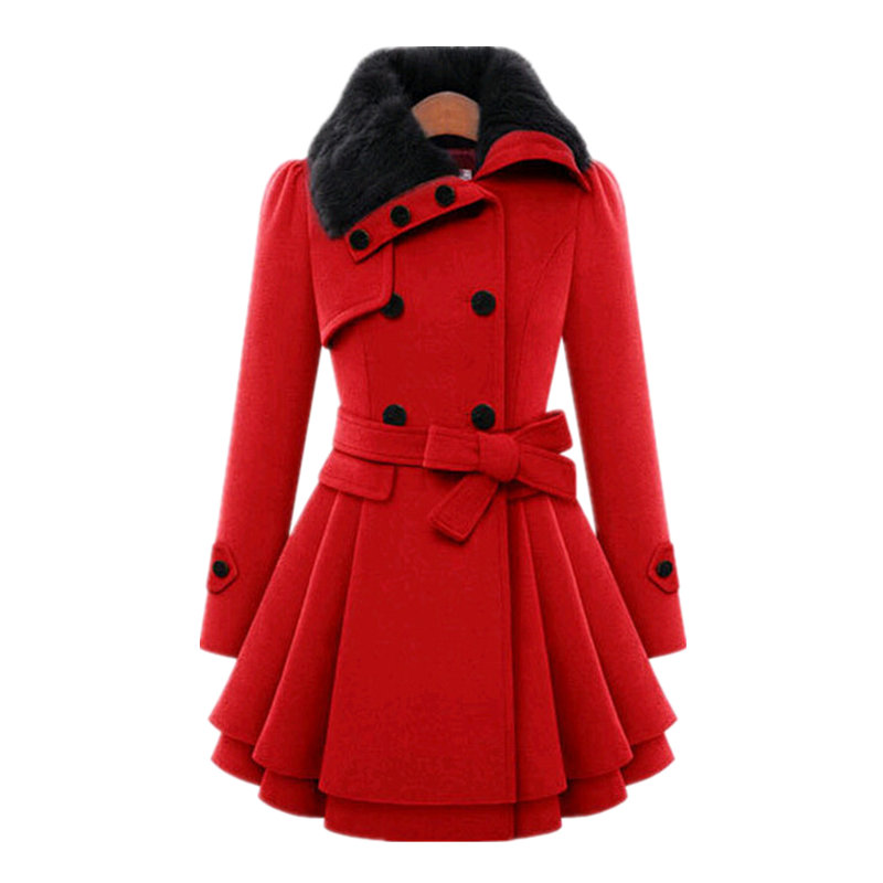Winter Solid Color Slim Style Double Breasted Fur Collar Elegant Women Wool Coat Plus Size 4XL Femme Thick Warm Coats MZ2875