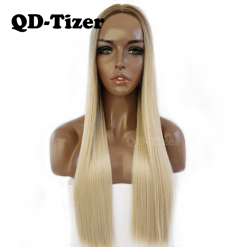 QD-Tizer Loira Ombre Loira Cor Do Cabelo Longo e Reto NENHUM Lace Wig Glueless Raiz Escura Sintético Perucas Para Preto mulheres