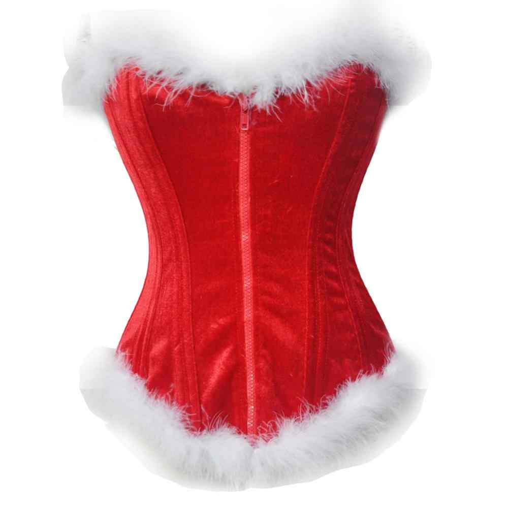 c5b6e869119 2017 Women New Sexy Christmas Costumes Santa Claus Corset Top Overbust Red  Velvet Bustier Steel Boned