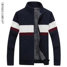 TIMESUNION Brand Clothing Winter Sweater Men Striped Cotton Stand Collar Cardigan Men Thicken Wool Liner Coat XXXL