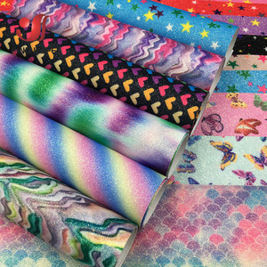 A4 Floral Print Sparkly Rainbow Star Butterfly Fine Glitter Leather Fabric Leatherette Bow Craft DIY Material(China)