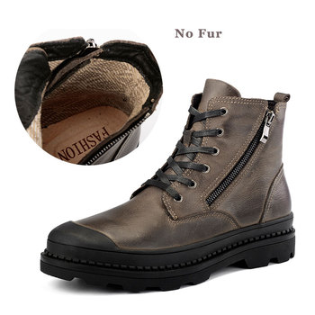 CLAX Men Boot Zipper Autumn High Shoes Genuine Leather Motorcycle Boots Male Winter Shoe Plush Fur Warm Casual Footwear Big Size 1