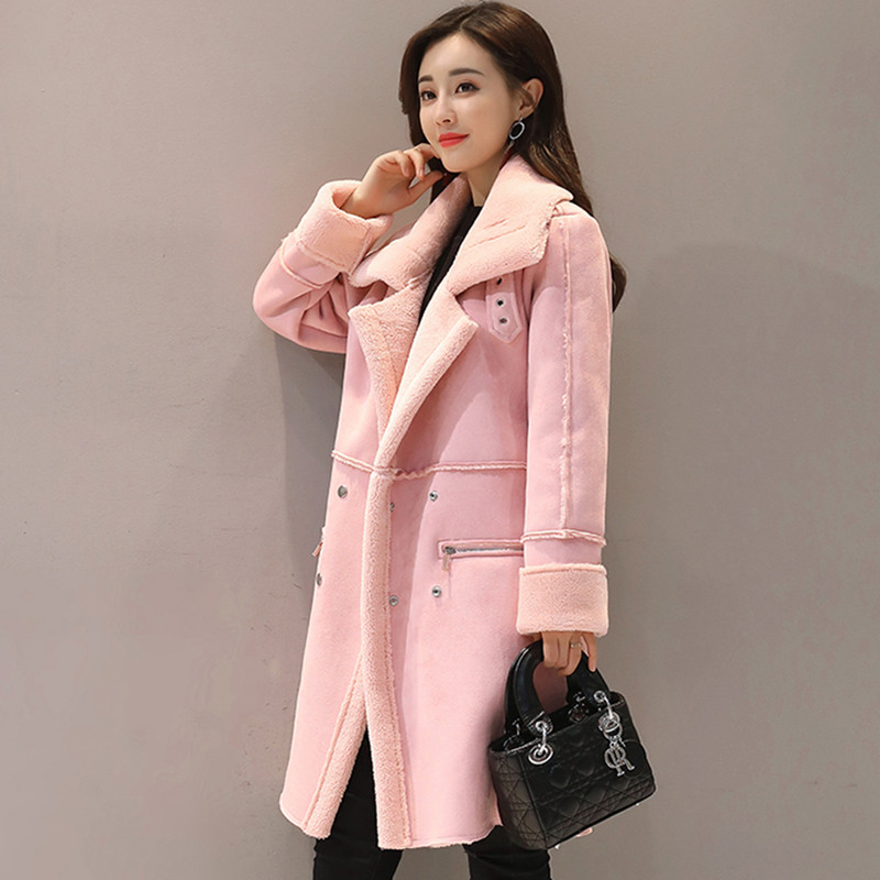 Women Suede Fur Winter Coat 2019 Fashion Autumn Thick Long Overcoat Female Solid Color Warm Large Size Double Breasted   Trench