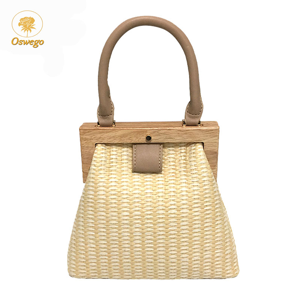 Oswego Straw Bag 2019 New Fashion Wooden Clip Women Shoulder Bag Summer Travel Beach Bag Luxury Handbags Women Bags Designer(China)