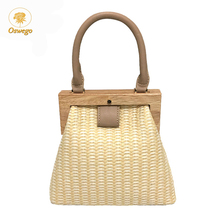 Fashion Wooden Clip Women Shoulder Straw Bag