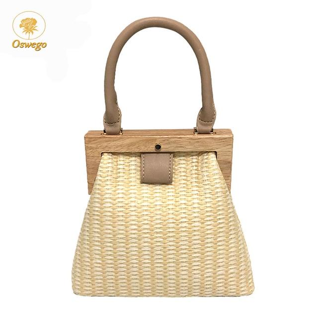 Oswego Straw Bag 2019 New Fashion Wooden Clip Women Shoulder Bag Summer Travel Beach Bag Luxury Handbags Women Bags Designer