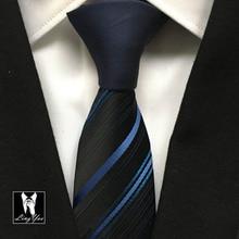 Unique Designer Tie Gentlemen Fashion Skinny Slim Necktie Contrast Knot with Blue Diagonal Stripes