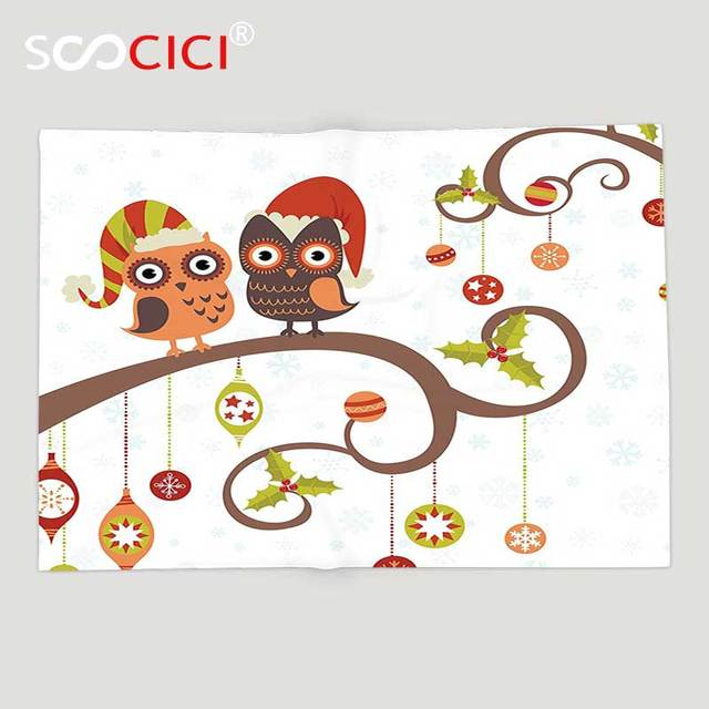 custom soft fleece throw blanket christmas decorations large eyed owls on decorated twiggy tree branches annual