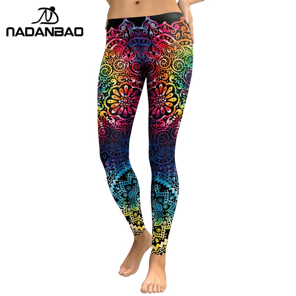NADANBAO New Arrival Leggings Women Mandala Flower 3D Printing Gradient Legging Fitness Leggins High Waist Trousers Pants