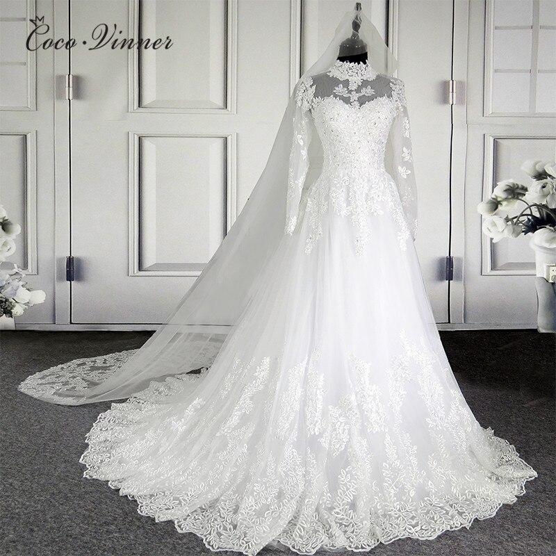 C. V nuevo vestido de boda de encaje de ilusión de cuello alto 201 vestido de fiesta de manga larga Vintage de calidad vestido de novia W0207