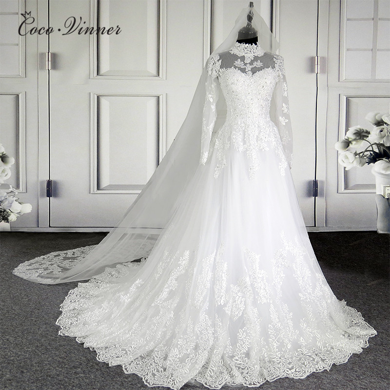 CV Novo Illusion Alta Neck Lace Vestidos de Casamento 201 vestido de Baile W0207 Mousseline de Manga Comprida Qualidade Nupcial Do Vestido de Casamento Do Vintage