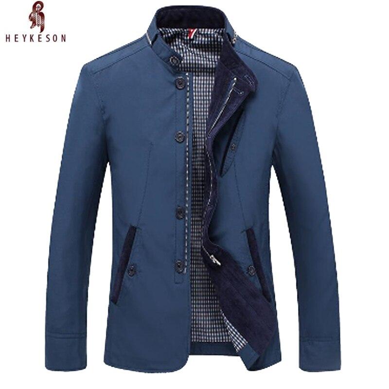 2018 HEYKEOSN chaqueta de hombre chaqueta de Color sólido cremallera Simple Bussiness abrigo Casual chaqueta caballeros abrigo ropa masculina