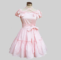 Short Sleeve Knee length Cotton Sweet Lolita Dress
