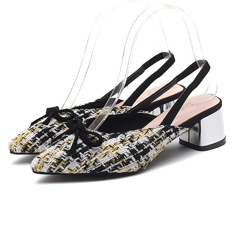 2019 Brand Women Mules Shoes Woman Sandals Covered Point Toe Square Heel Slippers Colorful Sexy Back Strap Party Wedding Shoes in Middle Heels from Shoes