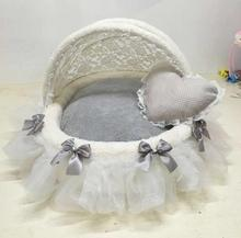 Pet round nest Canopy foldable Awning pet cradle bed High-end fashion dog Exquisite doghouse Lace Luxury