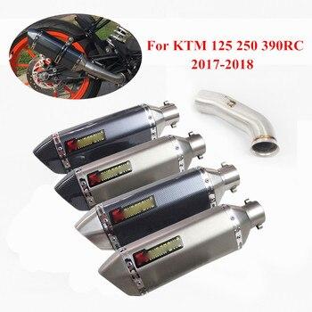 Slip On For KTM DUKE 125 250 390 2017-2018 Motorcycle Exhaust Muffler Pipe Mid Link Stainless Steel Moto Bike Pot Escape
