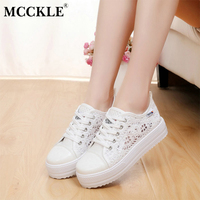 MCCKLE Women Autumn Canvas Cut Outs Lace Up Vulcanized Shoes Female Shallow Creepers Breathable Platform Flat