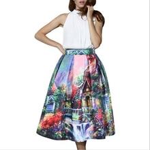 2016 summer new women's skirt elegant fancy print high waist skirt fashion Midi Casual faldes skirt Women skirt hot sale