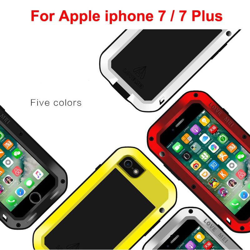 imágenes para Para el iphone de Apple 7 Caso AMOR MEI Potente Hermética Al Polvo A Prueba de Choques Protectora Casos De Aluminio Del Metal Para el iphone 7 Más Caso Trasero