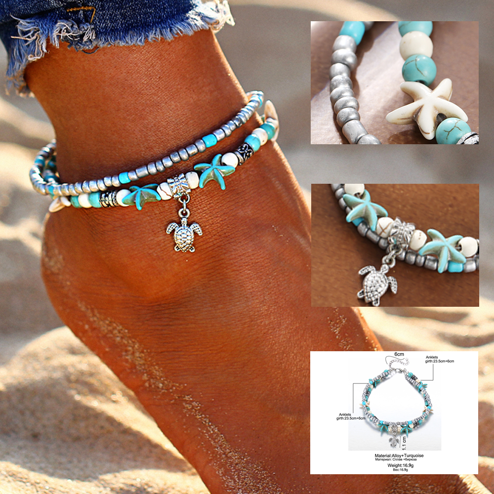 Vintage Shell Beads Starfish Multi-Layered Anklets