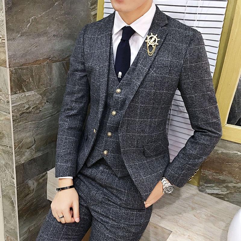 ( Jacket + Vest + Pants ) 2019 Men's England Plaid Casual Suit Mens Classic Single Button Official Suit Groom Wedding Dress Suit
