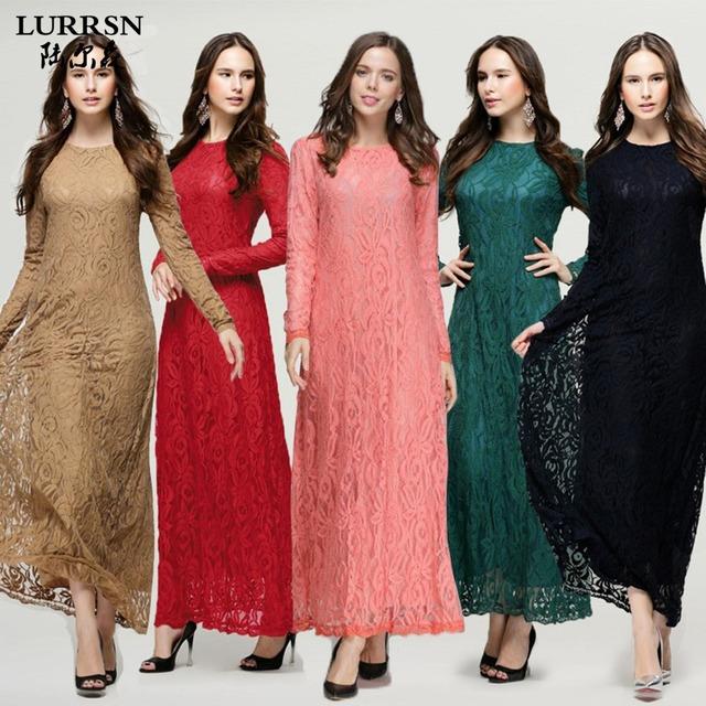 LURRSN Europa America Mujeres Camiseta de Manga Larga Musulmán Vestido Rojo Vestidos 2017 NUEVA Sexy de Encaje Fino Opaco Abayas Abaya negro vestidos