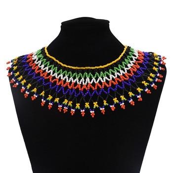 6cf5762a891c Africano Boho Multicolor resina cuentas collar conjuntos para mujeres Maxi  gargantilla collar Collier étnico Bohemia India joyería