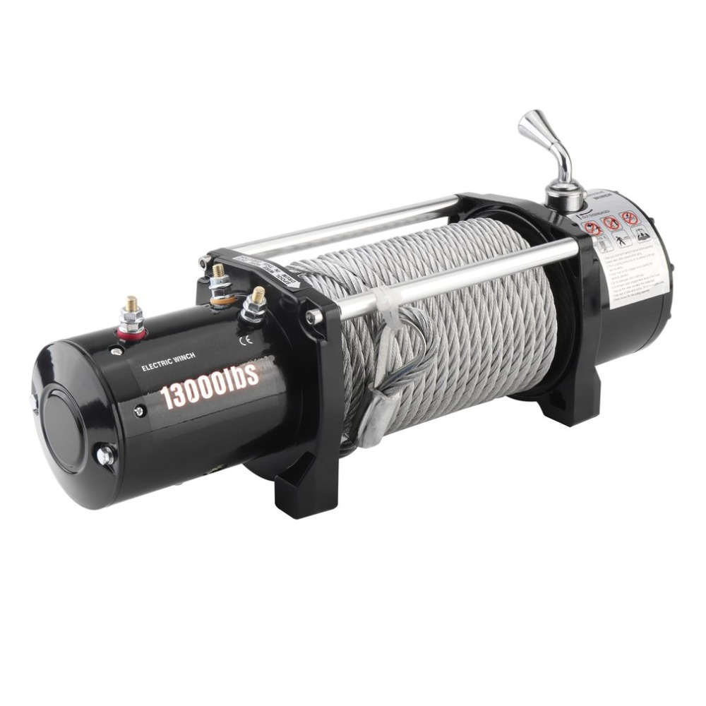 12V Electric Winch Load Capacity 13000lb/12000lb Remote Control Motor Vehicle Winch Powerful Accessories EU Plug Lifting Tool