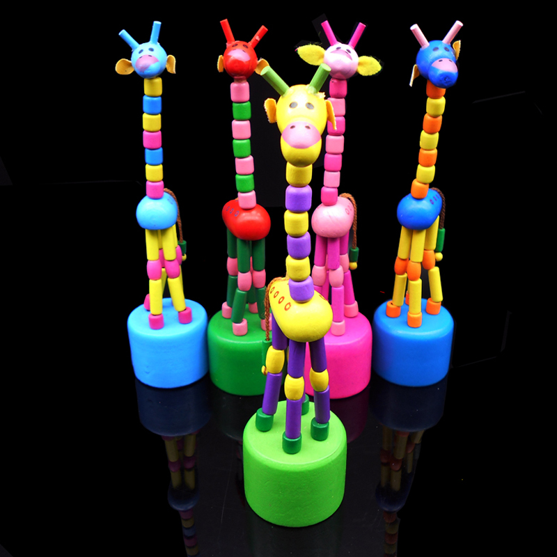 Educational Toys Children's Gift Kids Intelligence Toy Dancing Stand Colorful Rocking Giraffe Wooden Toy Children's Toys DS19