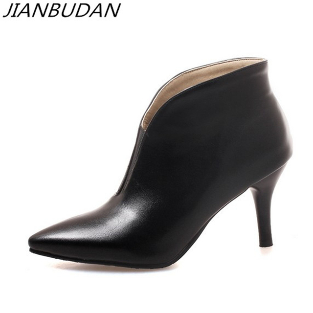 Jianbudan Luxury Fashion Professional High Heel Boots Women S Office Quality Pu Leather Autumn