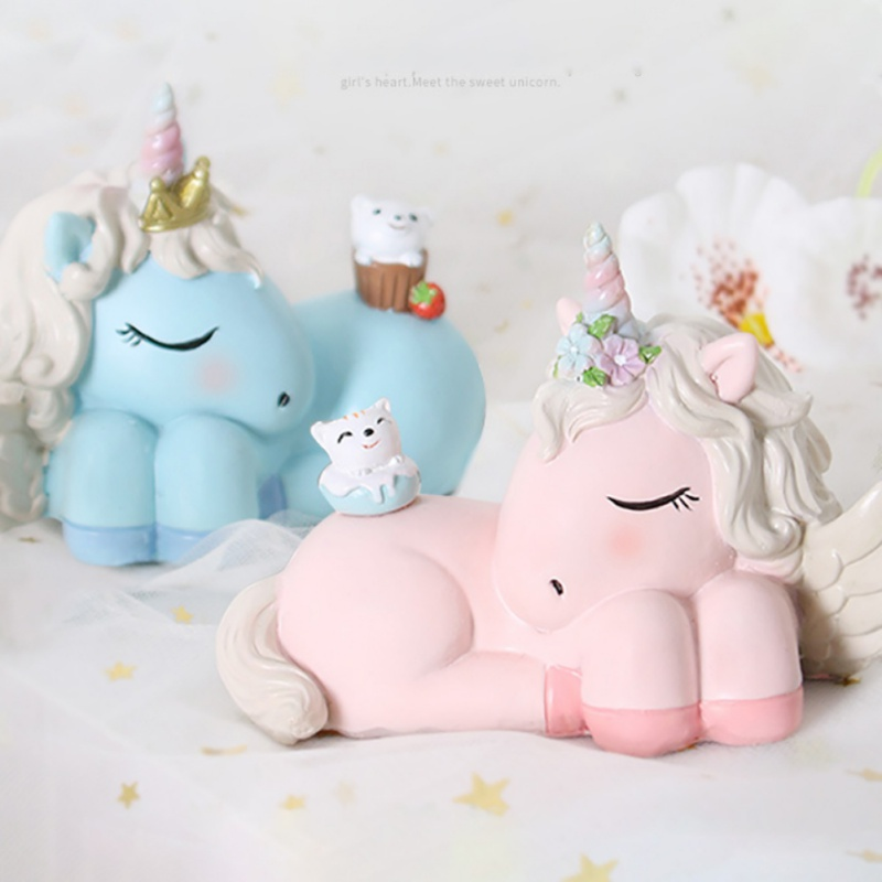 Sweet Lovely Unicorn Figurines Party Cake Topper Home Desktop Decoration Supplies Girl Gift Toy Doll Home Decoration Accessories