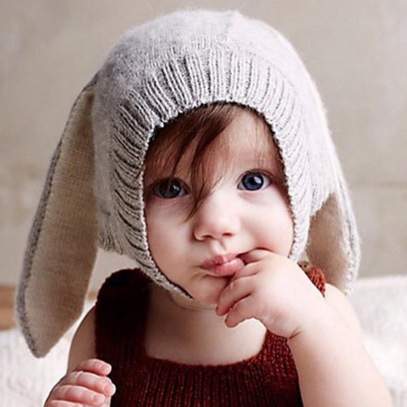 Novelty Grey Rabbit Ears Cap Men Women Fall Winter Children Wool Knit Hat Shape the new children s cubs hat qiu dong with cartoon animals knitting wool cap and pile