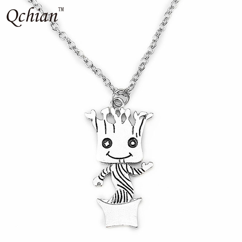 Zinc Alloy Stainless Steel Necklace Popular Movie Galaxy Guard Cute Tree Man Flowerpot Decorative Pendant Beautiful Gift For Kid