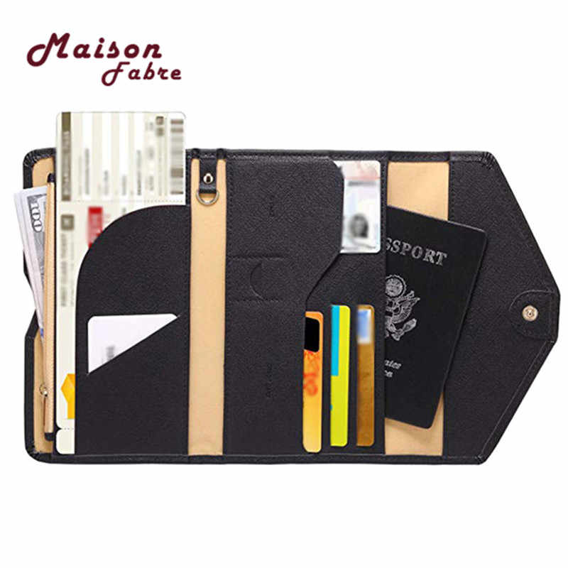 Maison Fabre ID Card Wallet Neutral Multi-purpose Travel Passport Wallet Tri-fold Document Organizer Holder Bag