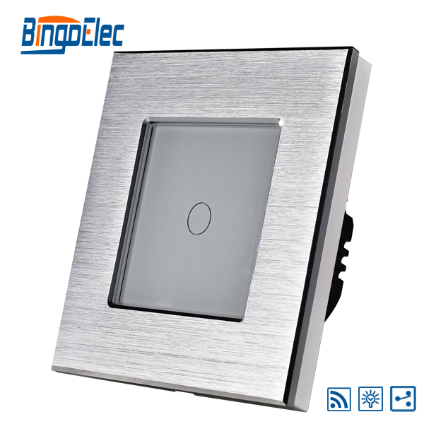 1gang 2way touch dimmer remote switch,silver aluminum frame and ...