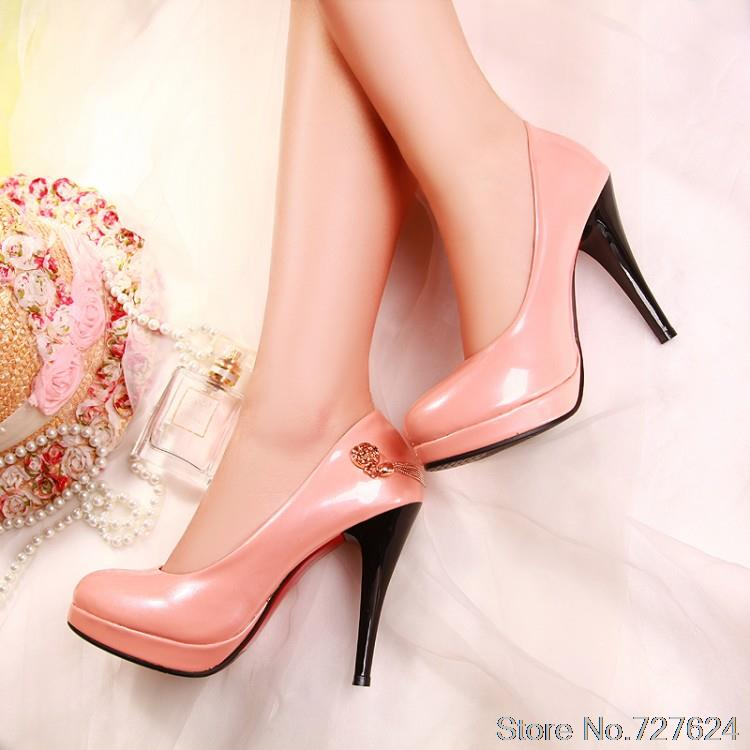 ФОТО Pumps Shoes Woman Patent Leather New 40 41 high heel 11CM Platform 2.5CM Thin Heels Women's shoes with heels EUR Size 34-43