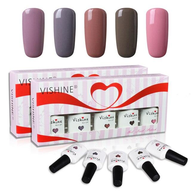 Vishine 5 Colors Gift Set Long lasting Gel Nail Polish Soak off UV ...