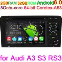 Octa-Core Android 6.0 Voertuig PC Dvd-speler Voor AUDI A3 2003 2004 2005 206 2007 2008 2009 2010 2011 Met BT Radio GPS Stereo